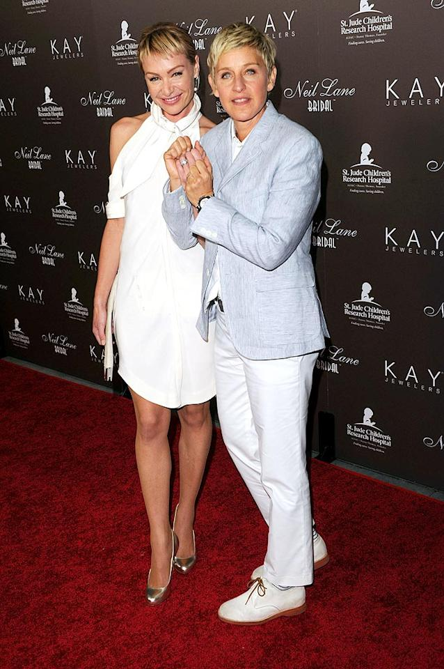 """Actress Portia de Rossi and wife Ellen DeGeneres flashed their Neil Lane bands while supporting the designer's new line of wedding rings for Kay Jewelers at Drai's in Hollywood. Jason Merritt/<a href=""""http://www.wireimage.com"""" target=""""new"""">WireImage.com</a> - July 22, 2010"""