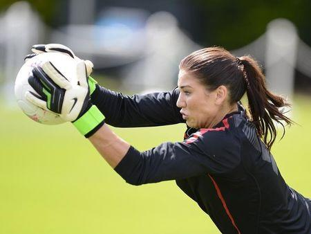 U.S. Olympic women's soccer player Hope Solo attends training during London 2012 Olympic Games in London