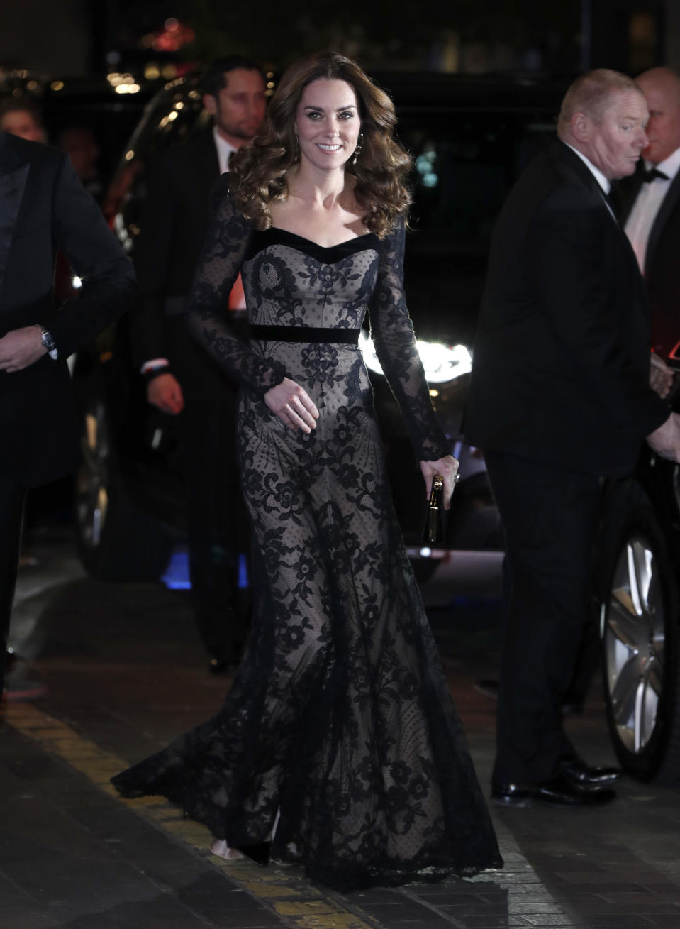 The Duchess of Cambridge stunned in a McQueen dress at the Royal Variety Performance. [Photo: Getty]