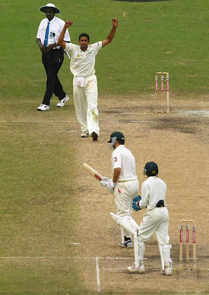 SYDNEY, AUSTRALIA - JANUARY 6:  Steve Waugh of Australia is dismissed for 80 runs by Anil Kumble of India during day five of the 4th Test between Australia and India at the SCG on January 6, 2004 in Sydney, Australia. (Photo by Adam Pretty/Getty Images)