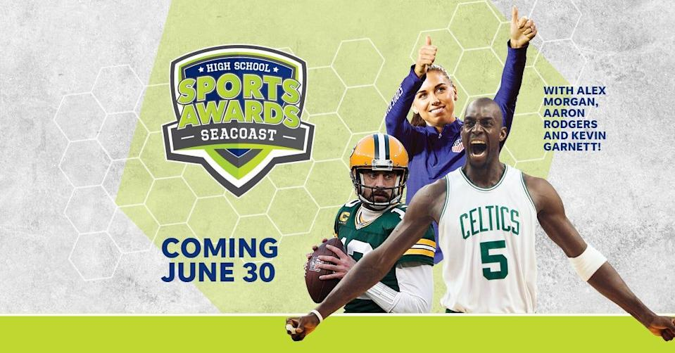 NBA Champion and MVP Kevin Garnett joins celebrity athletes, including Alex Morgan and Aaron Rodgers, announcing the winners of the Seacoast High School Sports Awards.