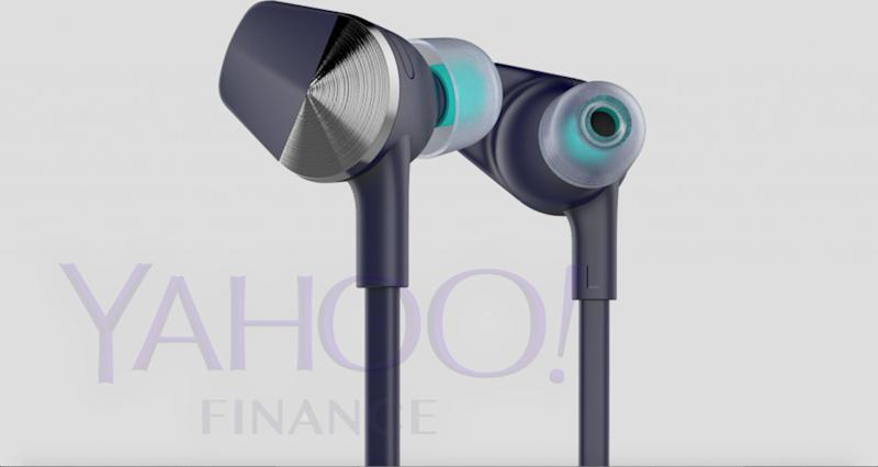 A photo of Fitbit's upcoming earbuds, which was leaked to Yahoo Finance.