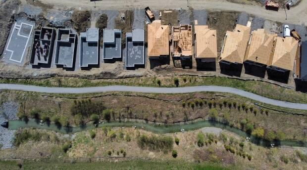New homes are shown from above in various levels of construction in Ottawa's western Kanata neighbourhood in May 2021. (Sean Kilpatrick/Canadian Press - image credit)