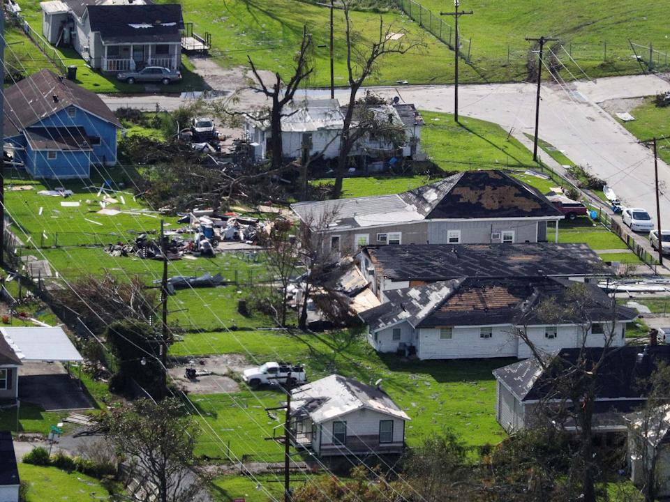 An aerial view shows debris and houses damaged by Hurricane Laura near Lake Charles, Louisiana: REUTERS