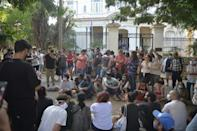 A group of young intellectuals and artists demonstrate outside the Culture Ministry in Havana, November 2020