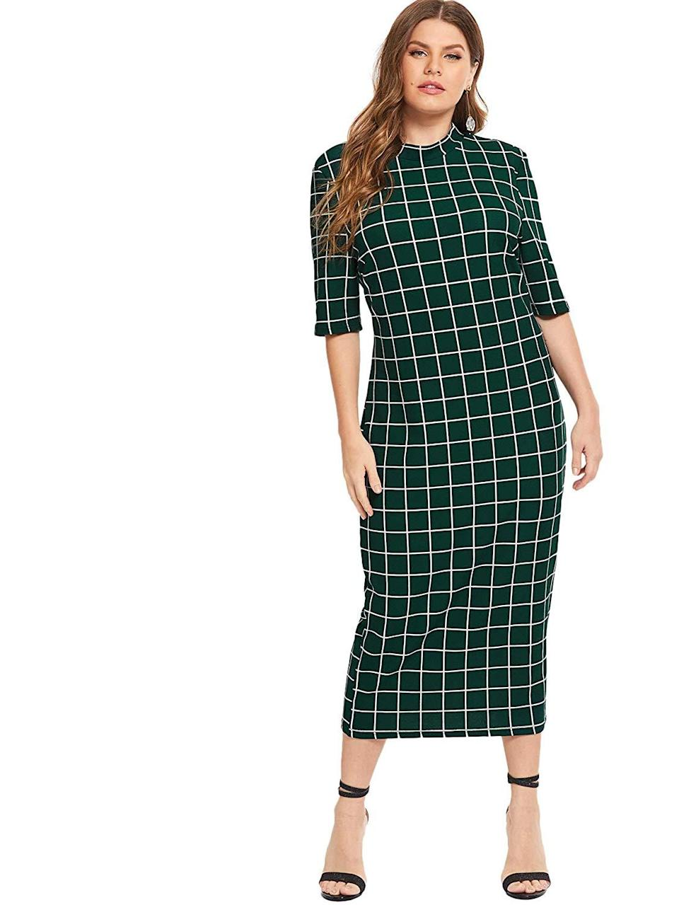 """<br><br><strong>Floerns</strong> Plus-Size Bodycon Pencil Dress, $, available at <a href=""""https://amzn.to/3mgtFo9"""" rel=""""nofollow noopener"""" target=""""_blank"""" data-ylk=""""slk:Amazon"""" class=""""link rapid-noclick-resp"""">Amazon</a>"""
