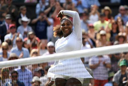 Serena Williams of the U.S. celebrates winning her semi final match against Germany's Julia Goerges. REUTERS/Tony O'Brien