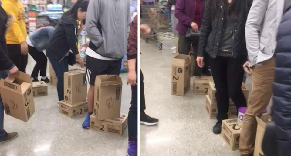 Last month Woolworths customers appeared to purchase boxes of formula at one Melbourne store. Source: Reddit