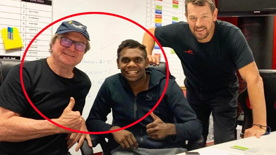 Irving Mosquito, pictured here with Kevin Sheedy and Mark Harvey.