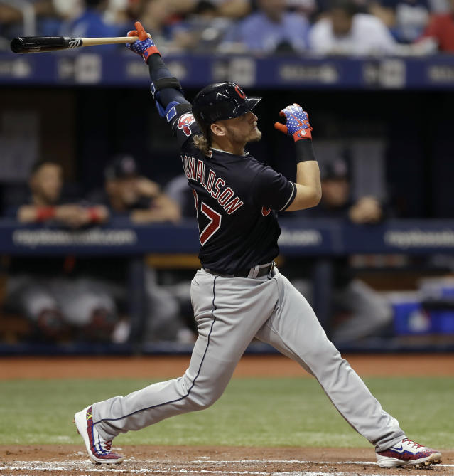 Cleveland Indians' Josh Donaldson flies out against Tampa Bay Rays pitcher Tyler Glasnow during the first inning of a baseball game Tuesday, Sept. 11, 2018, in St. Petersburg, Fla. (AP Photo/Chris O'Meara)