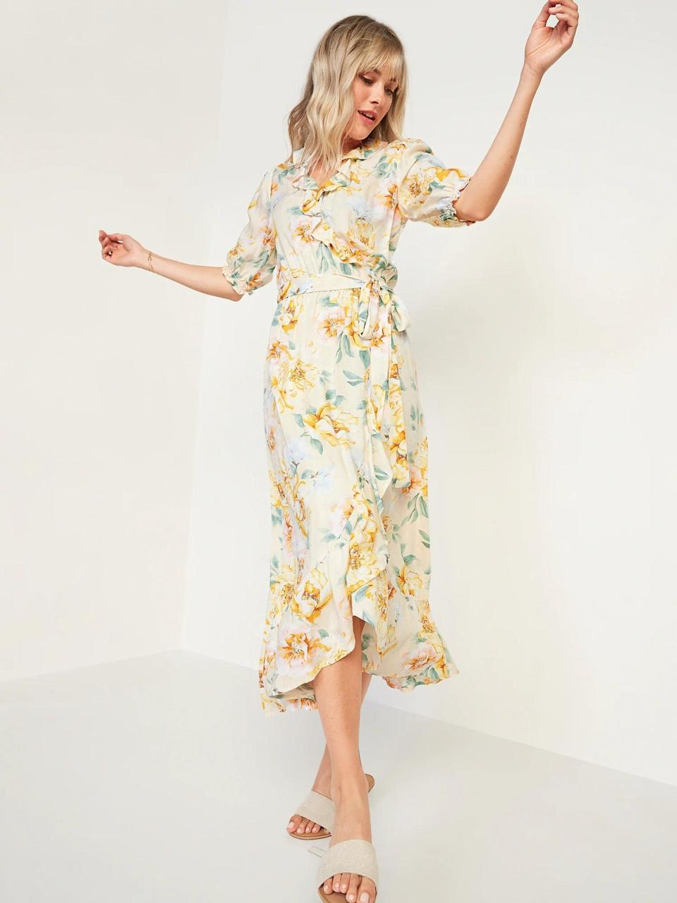 <p>Bring on the florals in this <span>Old Navy Waist-Defined Ruffled Tie-Belt Midi Wrap Dress</span> ($40, originally $45).</p>