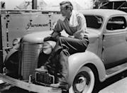 <p>Gary Cooper with his new Chrysler. Paramount studios, 1937. </p>