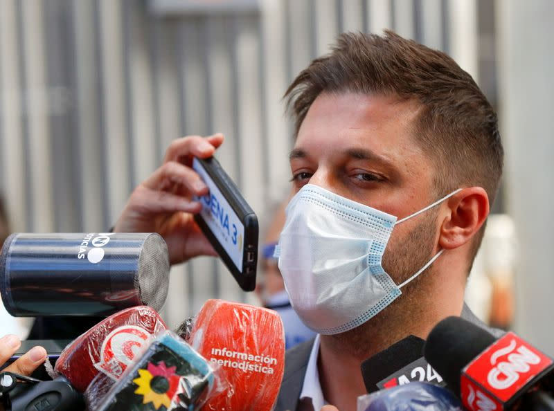 FILE PHOTO: Matias Morla speaks to the press in Olivos, on the outskirts of Buenos Aires