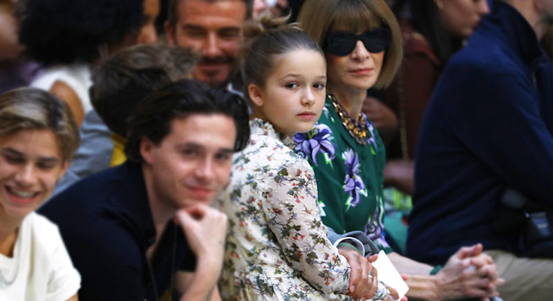 Harper Beckham stole the show at Victoria Beckham's London Fashion Week show [Photo: Getty Images]