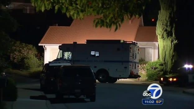 Police attend the home of Mr and Mrs Rabbi in San Jose, California. Photo: ABC