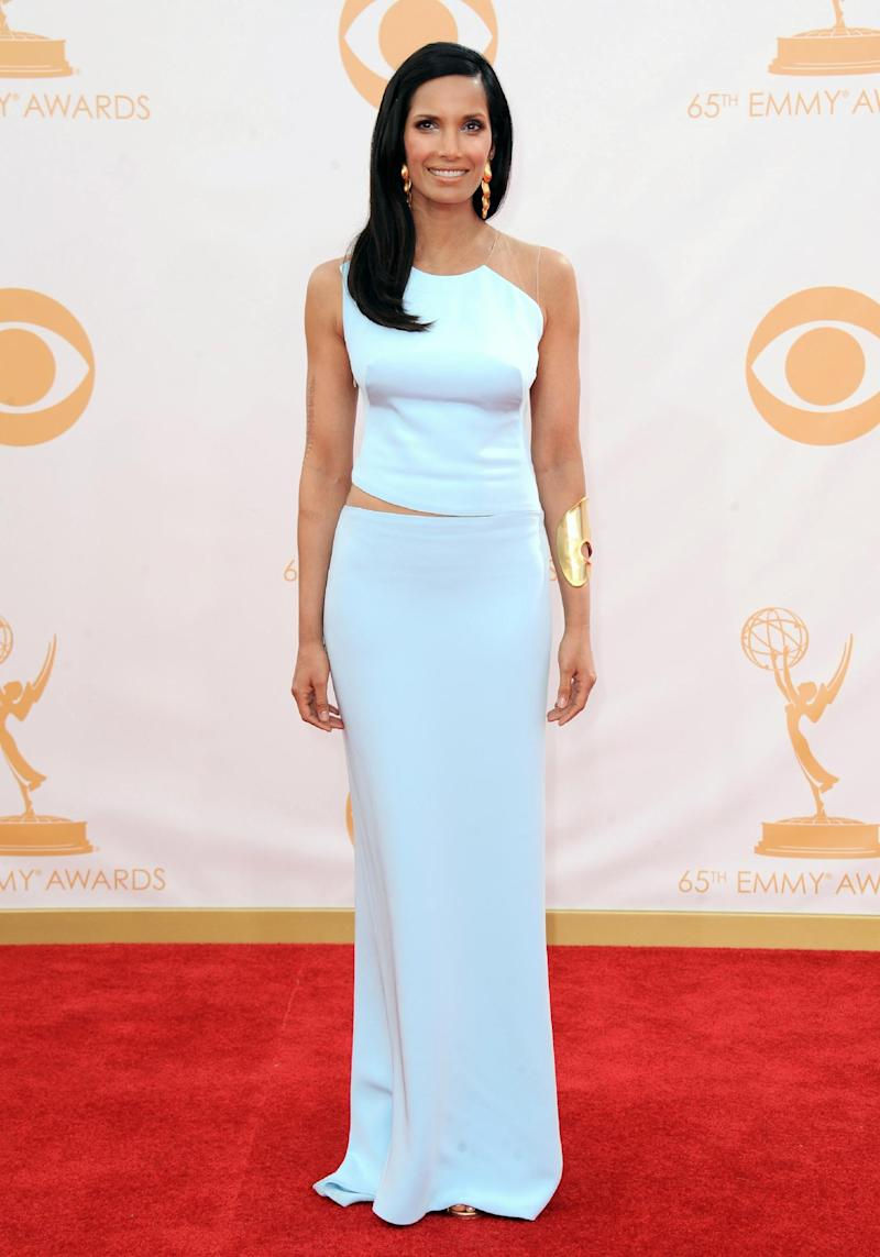Padma Lakshmi, wearing KaufmanFranco, arrives at the 65th Primetime Emmy Awards at Nokia Theatre on Sunday, Sept. 22, 2013, in Los Angeles. (Photo by Jordan Strauss/Invision/AP)