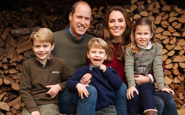 The Cambridges, with Prince George, Princess Charlotte, and Prince Louis - PA