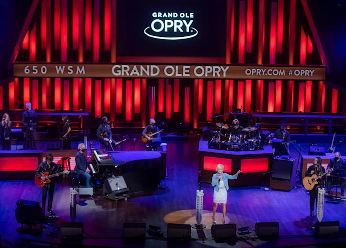 Lorrie Morgan performs at the Grand Ole Opry during the Opry's 95th anniversary celebration which included a 500-person live audience Saturday, October 3, 2020.