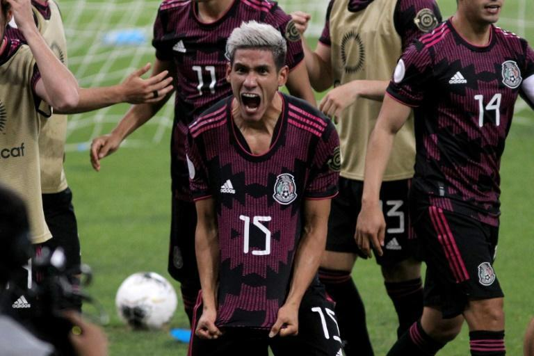 Mexico's Uriel Antuna celebrates after scoring in a 2-0 victory over Canada in the CONCACAF Olympic Qualifying tournament semi-finals - a victory that secured Mexico's berth in the Tokyo Games