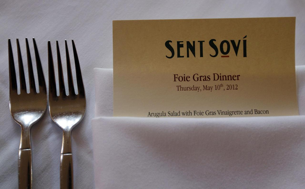 A foie gras-based menu is displayed at Sent Sovi Friday, May 11, 2012 in Saratoga, Calif. This is not a good time to be a duck in California. As a July 1 deadline looms for foie gras nears, renegade chefs across the state are loading their menus with the fatty duck liver and even holding secret dinners to avoid protesters, who say that force-feeding ducks is cruel. (AP Photo/Marcio Jose Sanchez)