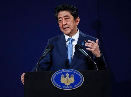 Japan's Prime Minister Shinzo Abe speaks during a news conference at a hotel in London