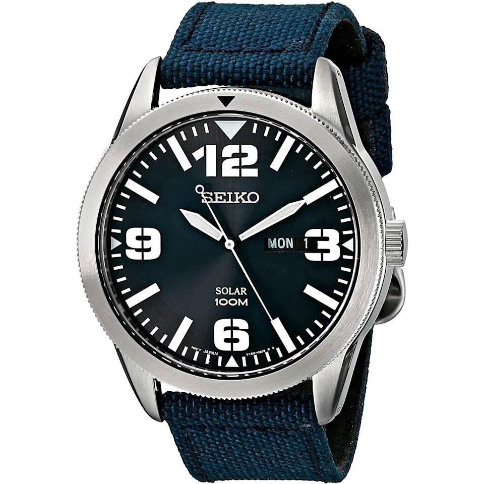 """<p><strong>SEIKO</strong></p><p>amazon.com</p><p><strong>$146.25</strong></p><p><a href=""""https://www.amazon.com/dp/B00I1KSQ6Q?tag=syn-yahoo-20&ascsubtag=%5Bartid%7C10054.g.35351418%5Bsrc%7Cyahoo-us"""" rel=""""nofollow noopener"""" target=""""_blank"""" data-ylk=""""slk:Shop Now"""" class=""""link rapid-noclick-resp"""">Shop Now</a></p><p>A big, beefy field watch driven by Seiko's solar-powered movement? Yes! A thousand times yes!</p>"""