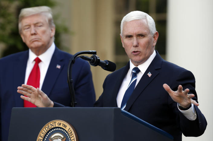 Vice President Mike Pence in the Rose Garden of the White House on Monday. (Alex Brandon/AP)