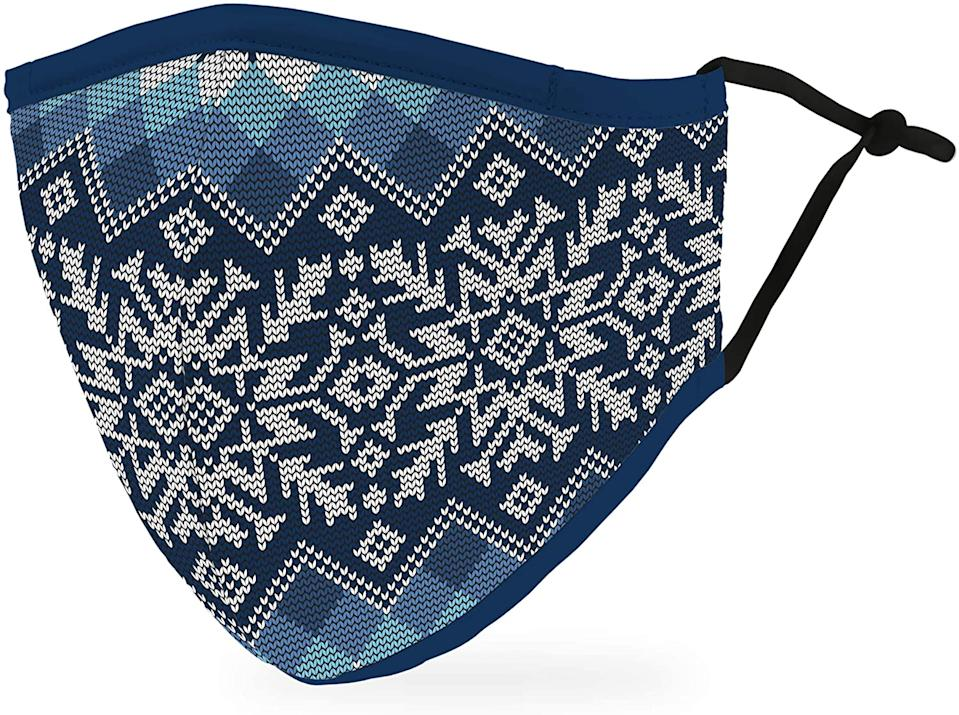 Weddingstar Adult Holiday Washable Cloth Face Mask in Nordic Snowflakes.