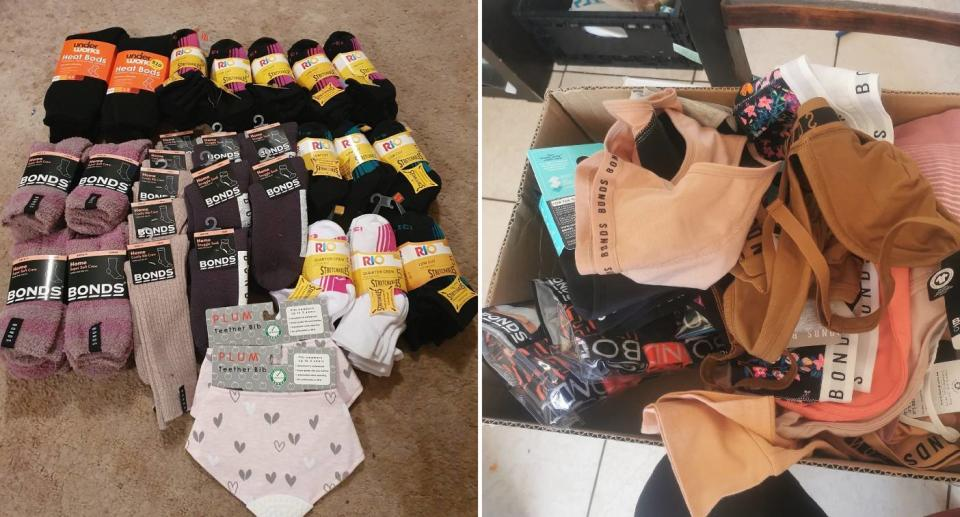 Pile of socks and underwear from Bonds brand. Source: Facebook