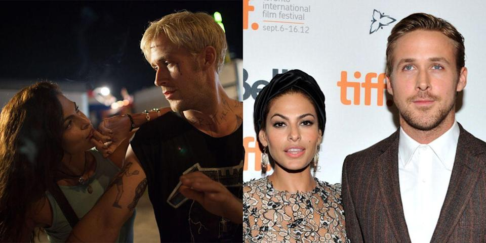 <p><strong>The movie: </strong><em>The Place Beyond The Pines </em>(2012)</p><p>In September 2011, Gosling and Mendes brought their onscreen chemistry off-screen. They have been together ever since and have two daughters. They keep their relationship private, and it's not certain whether or not the two are married. Rumors swirled in 2011, but they have never been confirmed.</p>