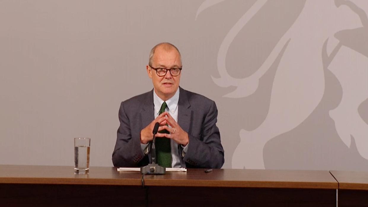 Screen grab of the government's chief scientific adviser Sir Patrick Vallance speaking at a Downing Street briefing to explain how the coronavirus is spreading in the UK and the potential scenarios that could unfold as winter approaches. (Photo by PA Video/PA Images via Getty Images)