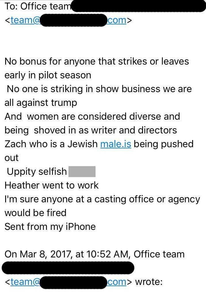 The message was apparently only meant for the eyes of her male coworkers. Source: Facebook