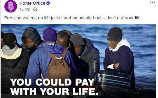 A Home Office advert warning migrants of the dangers of attempting to cross the Channel - Home Office/PA