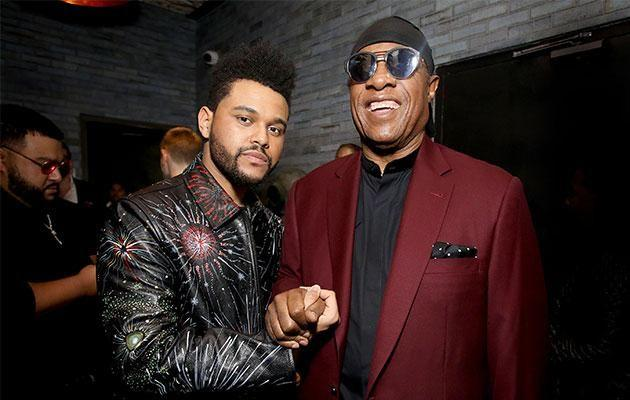 The Weeknd and Stevie Wonder at Catch. Photo: Getty Images