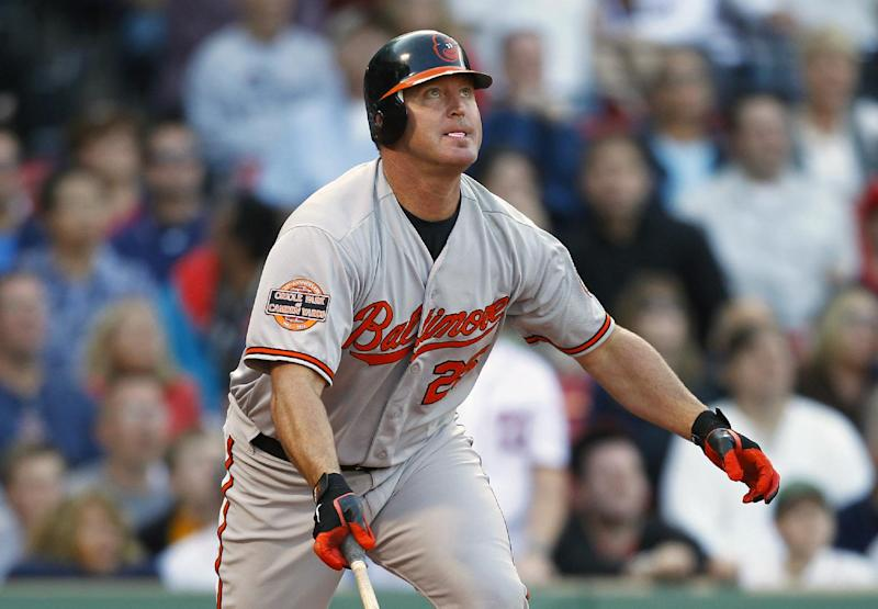 Baltimore Orioles' Jim Thome  watches his ground-rule double that drove in the go-ahead run in the 12th inning of a baseball game against the Boston Red Sox in Boston, Saturday, Sept. 22, 2012. The Orioles won 9-6. (AP Photo/Michael Dwyer)