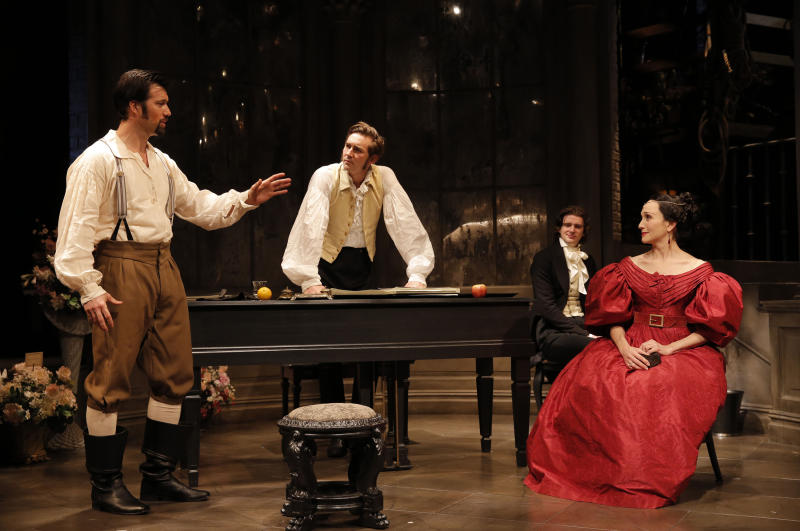 "This undated theater image released by Boneau/Bryan-Brown shows, from left, Lorenzo Pisoni, Lee Pace, Will Rogers and Bebe Neuwirth, in a scene from Terrence McNally's ""Golden Age,"" currently performing at Manhattan Theatre Club at City Center in New York.  (AP Photo/Boneau/Bryan-Brown, Joan Marcus)"