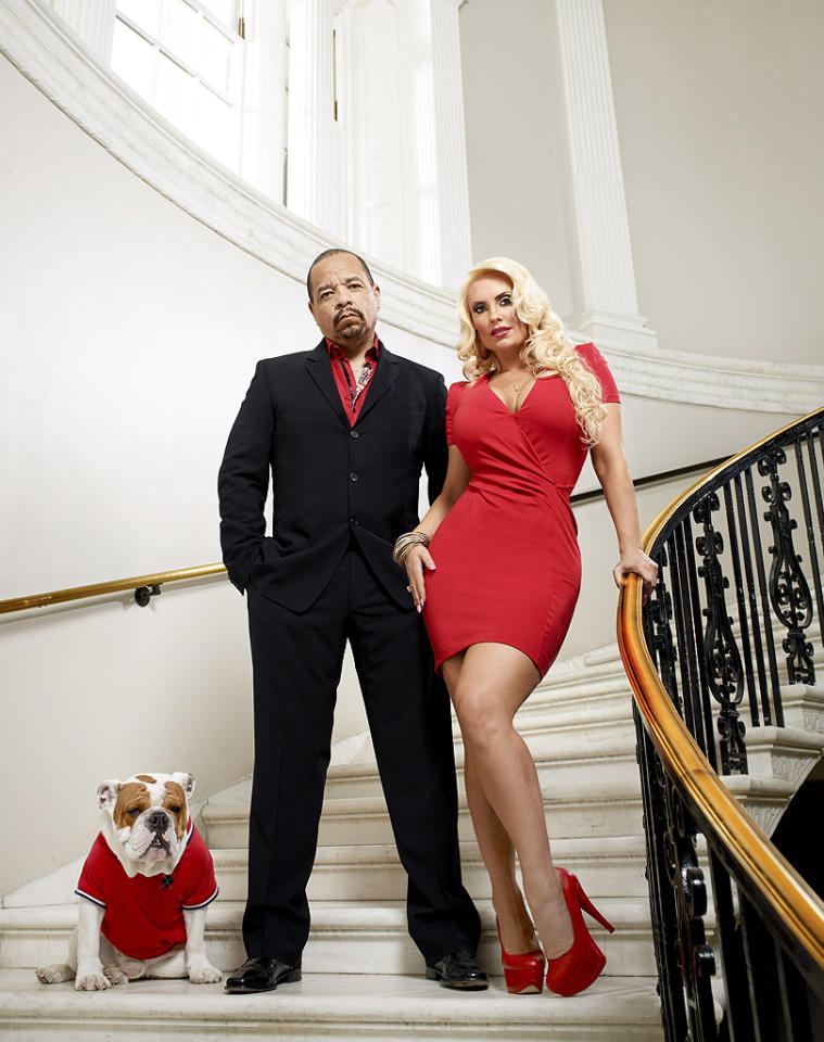 """Rapper and actor Ice-T, his wife, Coco, and their ridiculously adorable bulldog, Spartacus, got color-coordinated to promote the season premiere of their reality show, """"Ice Loves Coco,"""" which airs Sunday night on E!. Somehow we get the feeling Spartacus has a pretty good life."""