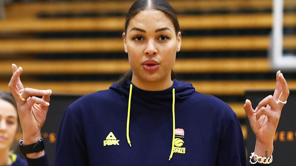 Liz Cambage, pictured here speaking to the media in Melbourne.