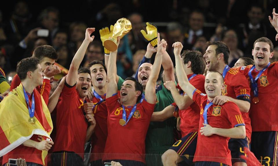 Spain players celebrate winning the 2010 World Cup in Johannesburg.