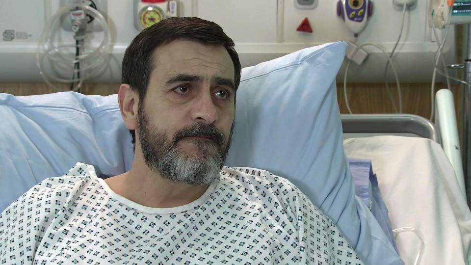 FROM ITV  STRICT EMBARGO - No Use Before  Tuesday 2nd March 2021  Coronation Street - Ep 10270  Wednesday 10th March 2021 - 2nd Ep  The consultant explains that Peter Barlow [CHRIS GASCOYNE] hadnÕt been drinking and his disorientation was caused by toxins arising from his liver failure. Carla Connor [ALISON KING] begs PeterÕs forgiveness but he orders her not to stay with him out of pity, but to do what will make her truly happy. What will Carla decide?   Picture contact David.crook@itv.com   This photograph is (C) ITV Plc and can only be reproduced for editorial purposes directly in connection with the programme or event mentioned above, or ITV plc. Once made available by ITV plc Picture Desk, this photograph can be reproduced once only up until the transmission [TX] date and no reproduction fee will be charged. Any subsequent usage may incur a fee. This photograph must not be manipulated [excluding basic cropping] in a manner which alters the visual appearance of the person photographed deemed detrimental or inappropriate by ITV plc Picture Desk. This photograph must not be syndicated to any other company, publication or website, or permanently archived, without the express written permission of ITV Picture Desk. Full Terms and conditions are available on  www.itv.com/presscentre/itvpictures/terms