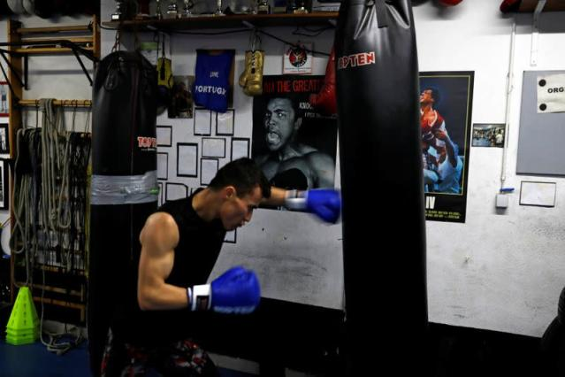 Boxer Farid Walizadeh practices during a training session in Lisbon