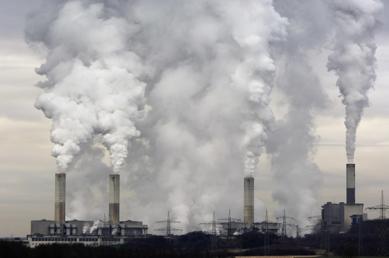 Smokestacks at a coal-burning power plant. (Photo: Getty Images)