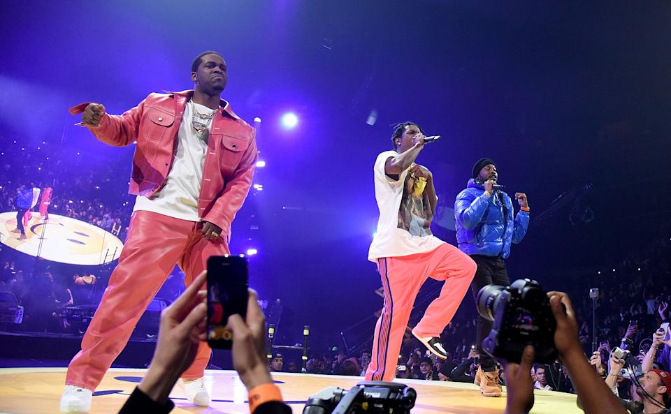 NEW YORK, NY - JANUARY 17: (L-R) A$AP Ferg, A$AP Rocky, Meek Mill perform at A$AP Mob Yams Day 2019 at Barclays Center on January 17, 2019 in New York City.  (Photo by Zachary Mazur/Getty Images)