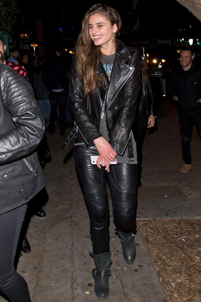 Taylor Hill, celebrity style, moto boots, leather jacket, leggings,