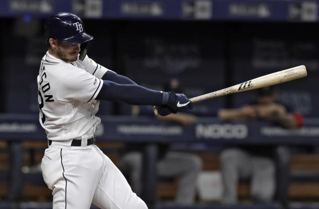 Tampa Bay Rays' Daniel Robertson lines a two-run double off Boston Red Sox starting pitcher Eduardo Rodriguez during the sixth inning of a baseball game Friday, April 19, 2019, in St. Petersburg, Fla. Rays' Austin Meadows and Avisail Garcia scored. (AP Photo/Chris O'Meara)