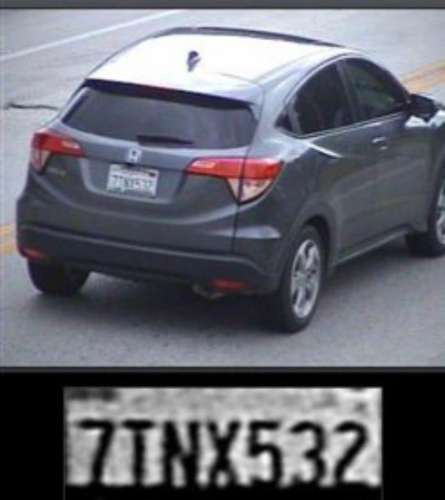 Police are looking for a gray 2016 Honda HRV with California tag 7TNX532.
