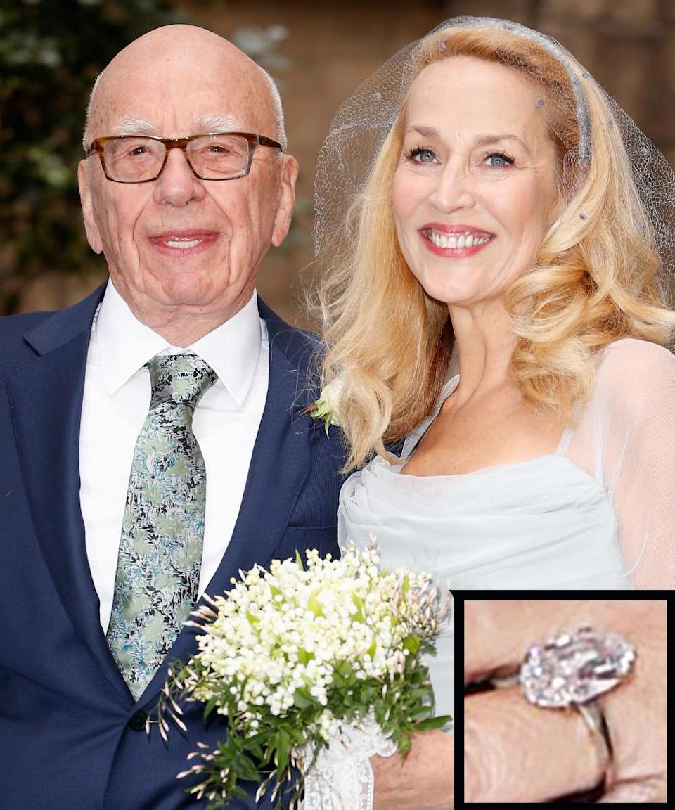 <p>The former model stepped out in London for her first public outing since the engagement announcement to billionaire Ruper Murdoch and an enormous sparkler graced her left ring finger. The piece appeared to feature a unique marquise-shaped diamond on a platinum band.</p>