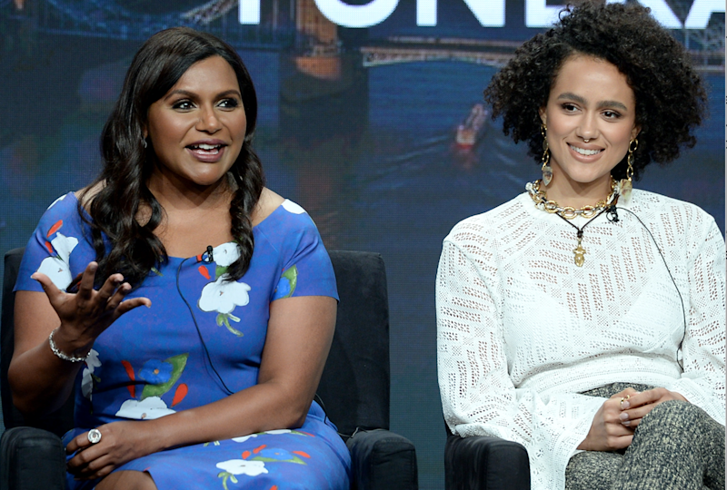 Mindy Kaling and Nathalie Emmanuel at the Television Critics Association summer press tour to discuss Four Weddings and a Funeral