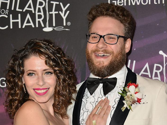 Seth Rogen (R) and wife Lauren Miller attend the 3rd Annual Hilarity for Charity Variety Show to benefit the Alzheimer's Association, presented by Genworth at Hollywood Palladium on October 17, 2014 in Hollywood, California.