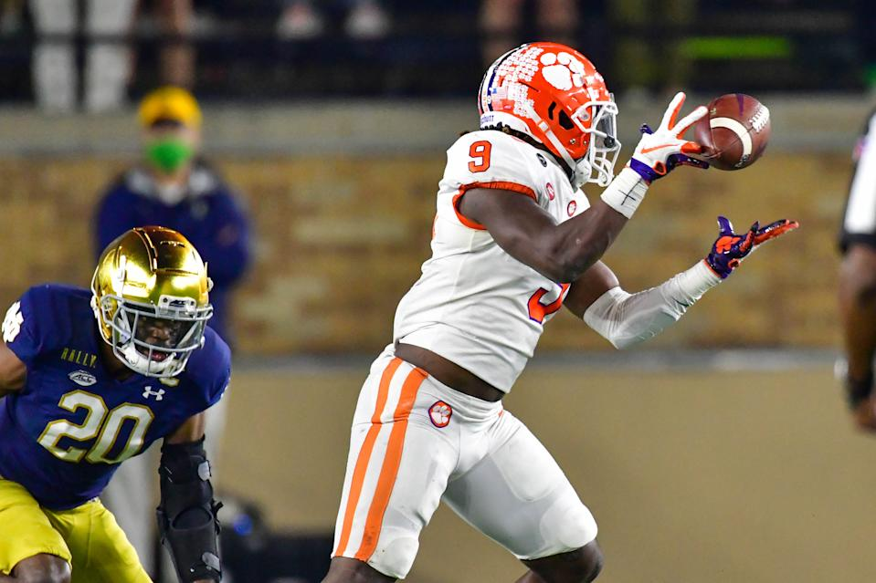 Notre Dame held Clemson RB Travis Etienne in check in their earlier meeting this season. (Photo by Matt Cashore-Pool/Getty Images)